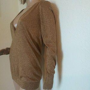 Ann Taylor Tops - Ann Taylor Gold Metallic Sparkle Sweater Top